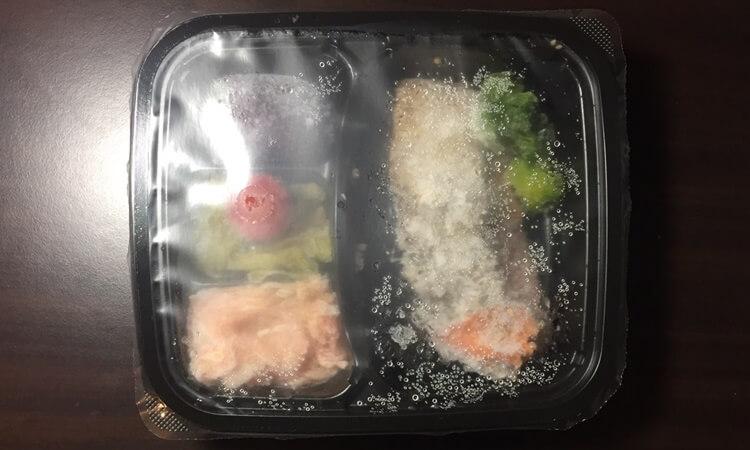 ヘルシーな低糖質宅配弁当、冷凍弁当nosh(ナッシュ)の鮭のごま風味焼き弁当の味感想口コミ、栄養成分、メニュー